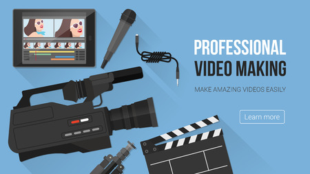 Video making, shooting and editing with professional equipment and video camera on a desk