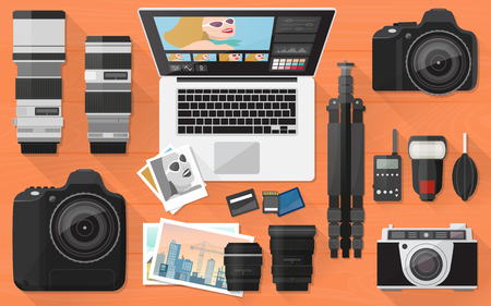 professional equipment: Professional photographer equipment on a desk, shooting and photo editing concept, flat lay Illustration