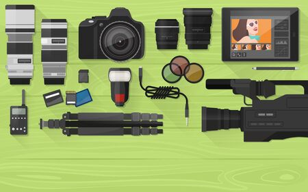 retouch: Video making, photography and post production with professional equipment, flat lay