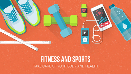 mobile app: Fitness, sport, diet and healthy lifestyle with copy space and training equipment