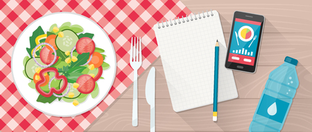 weight loss plan: Food, diet, healthy lifestyle and weight loss with a dish of salad, table set, smartphone and diet plan on a notebook Illustration