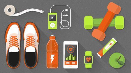 Fitness und einen gesunden Lebensstil mit Sportgeräten und gesunde Snacks, Gewichtsverlust und Wellness-Konzept