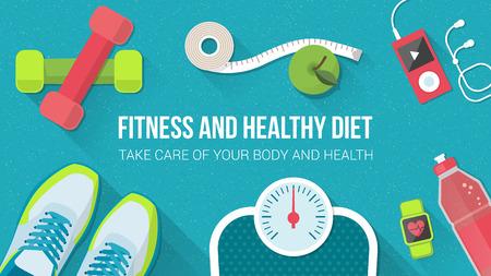 cinta metrica: Fitness, deporte, dieta y estilo de vida saludable bandera con copia espacio y equipo de entrenamiento Vectores