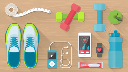 physical activity: Sports and physical activity equipment, healthy food and wellness , objects set on a wooden floor, top view Illustration