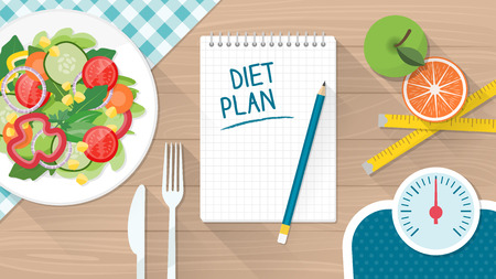 Comida, dieta, estilo de vida saludable y pérdida de peso con un plato de ensalada, conjunto de mesa y la escala Ilustración de vector