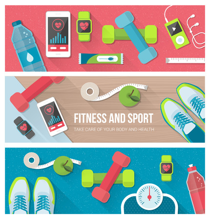 weight loss: Fitness, physical exercise, weight loss and technology set with sports equipment, weight scale, smartphone and watch