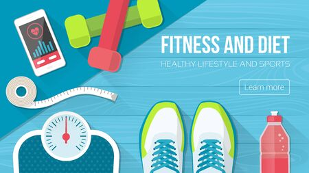 floor mat: Fitness, sport, diet and healthy lifestyle with copy space and training equipment
