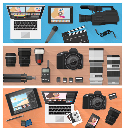 Photograph, video making and photo editing banner set with professional equipment, laptops and camera, flat lay Illustration