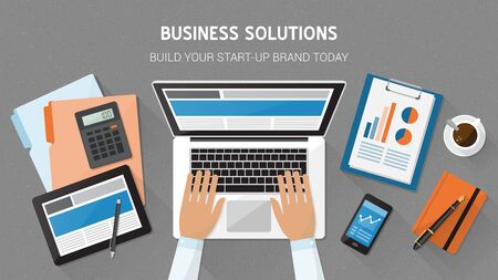 freelancing: Business, technology and freelancing concept, office desktop with laptop, tablet, files and businessmans hands typing, top view Illustration