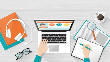 E-learning, la educación universitaria y la bandera, el escritorio del estudiante con un portátil, libros y manos, vista desde arriba Ilustración de vector