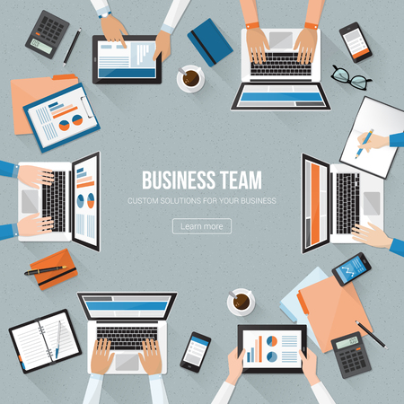 financial report: Business team working in the office and checking financial report, corporate management and accounting concept Illustration