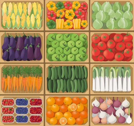 trompo de madera: cajas de verduras en el mercado de los agricultores, vista desde arriba, la cosecha y el concepto de alimentación saludable Vectores