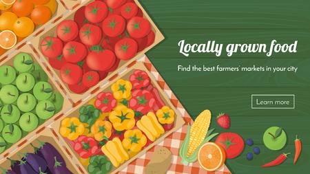 Kolorowe świeżo zebranych warzyw w skrzynkach na rynku rolników, lokalnie uprawianych jedzenie i zdrowe jedzenie koncepcja banner