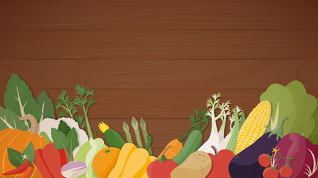 Seasonal fresh vegetables, healthy eating on a wooden table, agriculture and vegan food concept