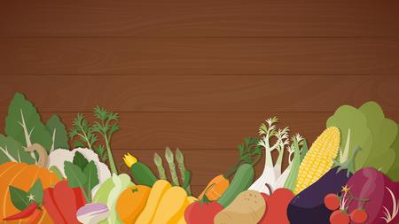 Stagionali verdure fresche, una sana alimentazione su un tavolo di legno, agricoltura e vegan concetto di cibo Vettoriali