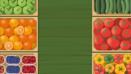 apples and oranges: Tasty colorful freshly harvested vegetables in wooden crates at the farmers market, agriculture and healthy eating concept, top view Illustration