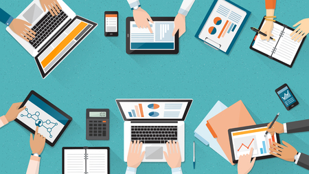 Business team working together at office desk, they are using laptops and checking financial reports, corporate management and accounting concept Banco de Imagens - 55804664