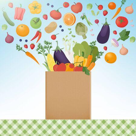 Esplosione di gustosi ortaggi appena raccolti in un sacchetto di carta di shopping, mangiare sano e il concetto di agricoltura