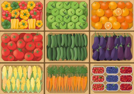 crates: Vegetable crates at the farmers market, top view, harvest and healthy eating concept Illustration