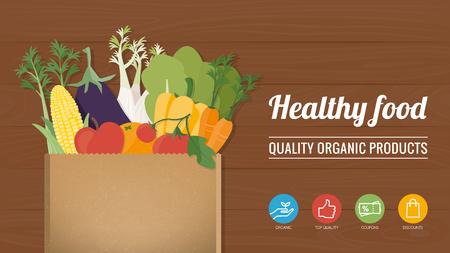 abarrotes: Saludables verduras recién cosechadas en un concepto de bolsa de papel y hacer las compras Vectores