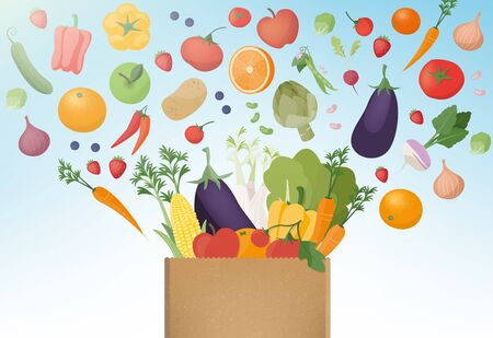 Esplosione di gustosi ortaggi appena raccolti in un sacchetto di carta di shopping, mangiare sano e il concetto di agricoltura Vettoriali
