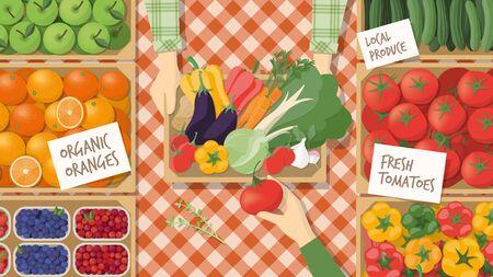 Landwirt, der sein frisch geerntetes Gemüse auf dem lokalen Markt zu verkaufen, ein Kunde kauft einige Produkte, gesunde Ernährung und Retail-Konzept