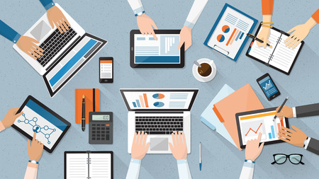 Business team working together at office desk, they are using laptops and checking financial reports, corporate management and accounting concept Illustration