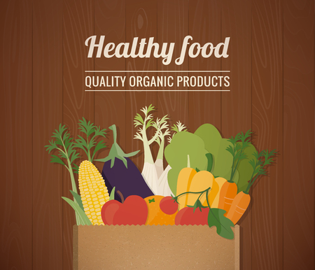 grocery shopping: Healthy freshly harvested vegetables in a paper shopping bag and grocery shopping concept Illustration