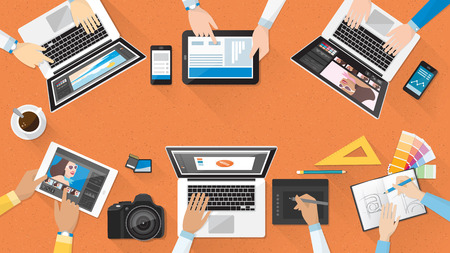 Creative team working together at office desk, teamwork and advertising concept Illustration