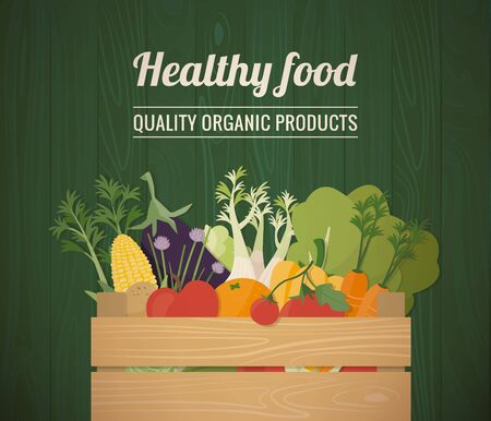 biology: Healthy freshly harvested vegetables in a wooden crate and grocery shopping concept banner