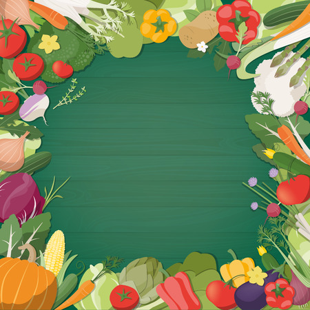 composing: Freshly harvested vegetables composing a decorative border with copy space at center, agriculture and healthy eating concept