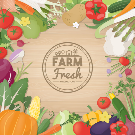 freshly: Freshly harvested vegetables composing a decorative border with copy space at center, agriculture and healthy eating concept