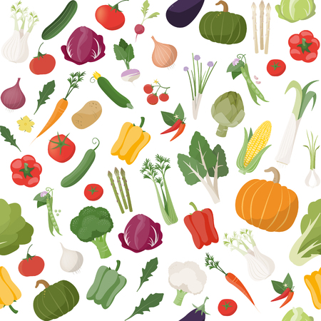 Fresh tasty vegetables seamless pattern with seasonal farming products