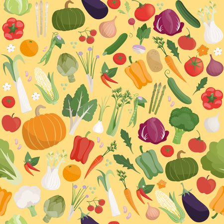 variety: Fresh tasty vegetables seamless pattern with seasonal farming products Illustration