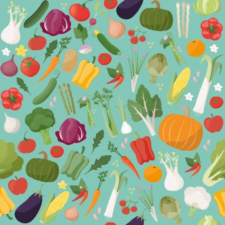 seasonal: Fresh tasty vegetables seamless pattern with seasonal farming products Illustration