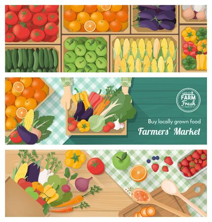 food preparation: Freshly harvested vegetables banner set, farmers market, retail and food preparation at home with vegetables and fruits