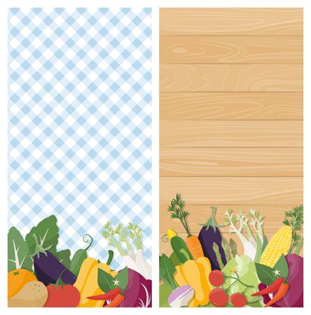 vegetable gardening: Tasty vegetables vertical banners on tablecloth and wood