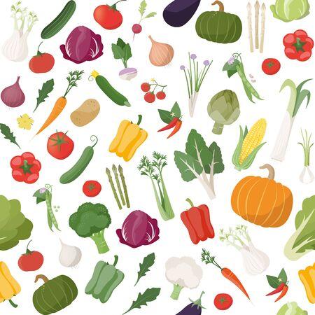 frescura: Modelo inconsútil de sabrosas hortalizas frescas con productos agrícolas de temporada Vectores