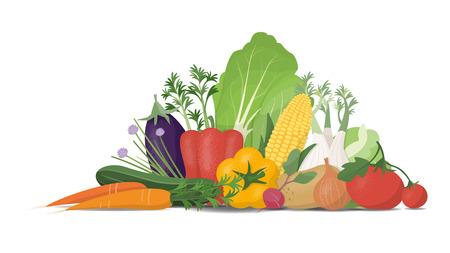 verdure appena raccolte su sfondo bianco, mangiare sano e concetto di orticoltura