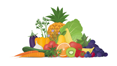 Fresh vegetables and fruit composition on white background, healthy food and nutrition Illustration