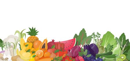 Arcobaleno variopinto di frutta e verdure su fondo bianco, sul cibo sano e sul concetto di nutrizione