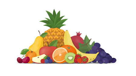 Fresh fruit composition on a white background, healthy eating concept