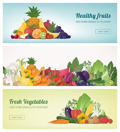 Composition de fruits et légumes banner set et arc en ciel, une alimentation saine et le concept de la nutrition Vecteurs