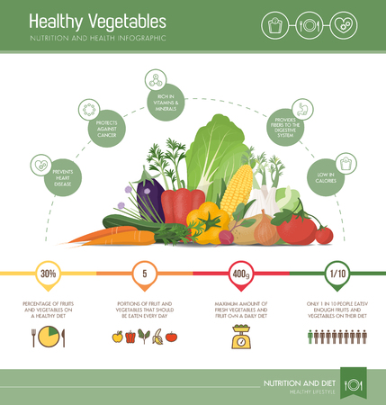 antioxidant: Healthy eating infographic with vegetables composition, nutrition statistics and informations
