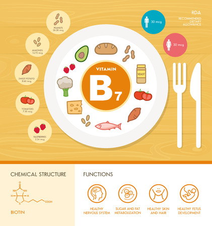 biotin: Vitamin B7 nutrition infographic with medical and food icons: diet, healthy food and wellbeing concept