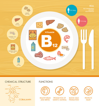 minerals: Vitamin B12 nutrition infographic with medical and food icons: diet, healthy food and wellbeing concept