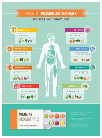Nutrition, vitamines et infographies de santé: corps humain, les organes, les vitamines avantages et sources alimentaires infographiques Vecteurs