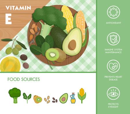 alimentos saludables: La vitamina E fuentes de alimentos y beneficios para la salud, verduras y composición de la fruta sobre una tabla de cortar y de conjunto de iconos