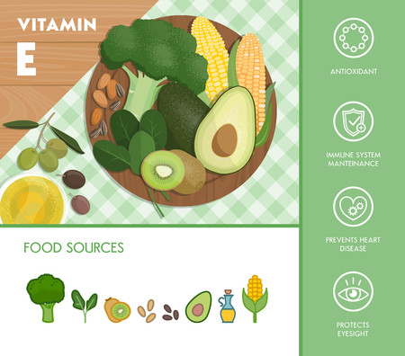 Vitamin E food sources and health benefits, vegetables and fruit composition on a chopping board and icons set