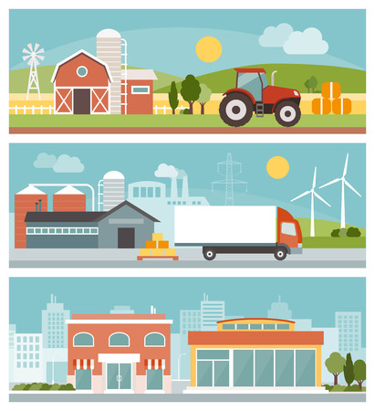 Agriculture, industrial production, transport and commerce banners set, city and landscapes with buildings and machinery